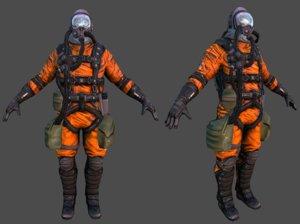 3D model rigged polys suit