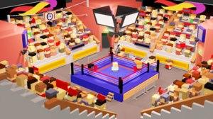 boxing arena public characters 3D model