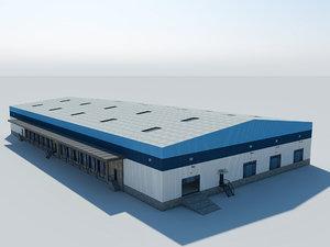 3D interior exterior warehouse model