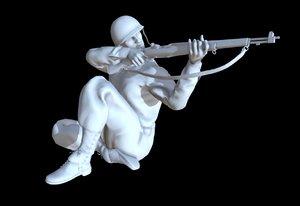 3D model ww2 soldier