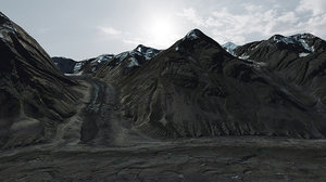 3D black glacier mountain road model