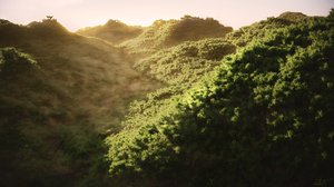 forest scene trees mountains 3D model