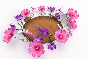 flowers garden grass 3D model