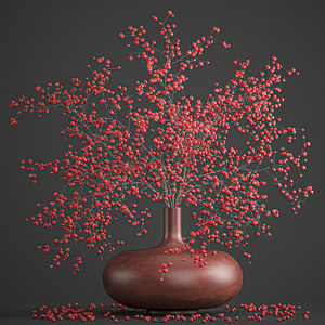 3D decorative branches vase red