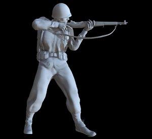 3D ww2 soldier model