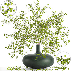 3D decorative branches vase green
