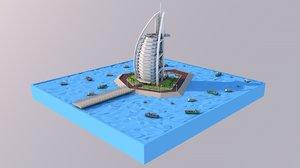 hotel tower landmark 3D model