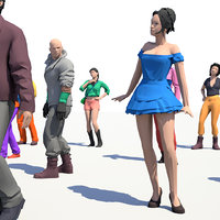 200 Colorful Low Poly People Collection