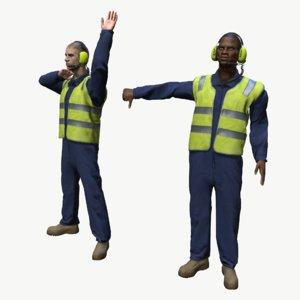 marshaller airport ground crew 3D