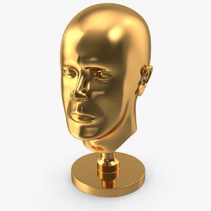 3D golden head statue gold model
