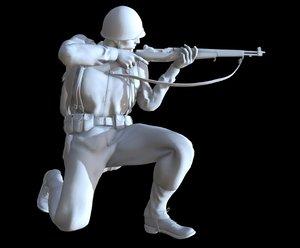 3D model soldier ww2 printable