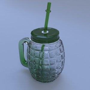 grenade mug glass cup 3D model