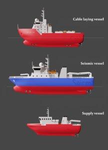 3D set schematic vessels 3 model