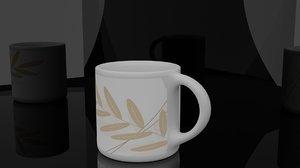 3D simple glass mug