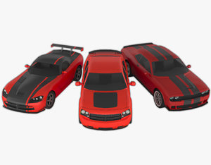 3 muscle cars pack 3D