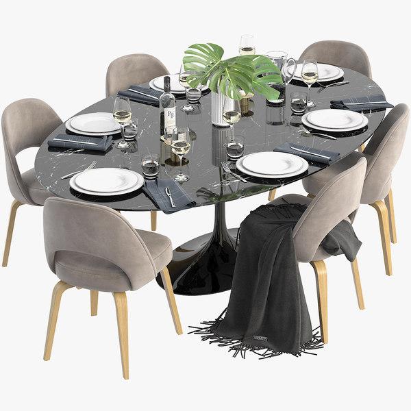 Saarinen Knoll Oval Dining Table 3d, Oval Dining Room Table