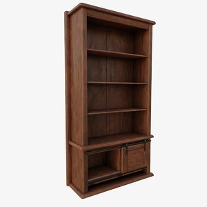 old oak bookshelf 3D