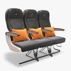 economy seat airplane 3D model