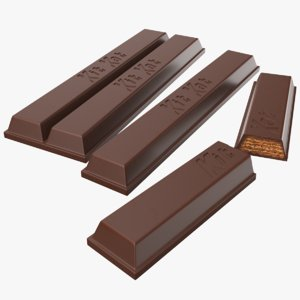real kitkat chocolate bars 3D model