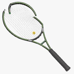 3D model tennis racket broken