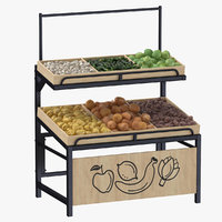 Wooden Display Rack 06 With Vegetables Without Tag