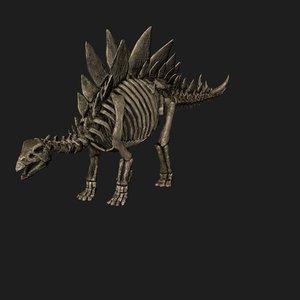 3D rigged stegosaurus skeleton