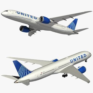 3D boeing 787-9 united airlines