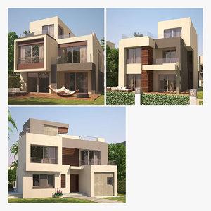 modern villas 3D