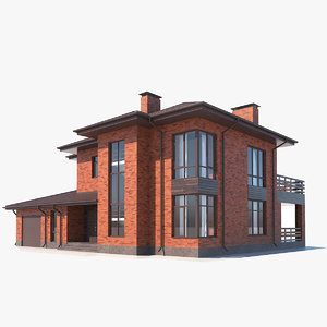 red brick building 3D model