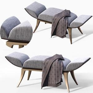3D model shabby hallway bench furniture