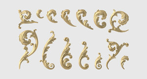 3D set acanthus leaf model