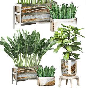 potted plants set 43 model