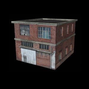 old industrial brick building 3D model