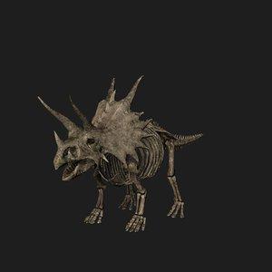 rigged triceratops skeleton 3D model