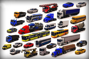 3D model vehicle pack 4 low-poly