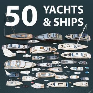 50 yachts ships 3D model