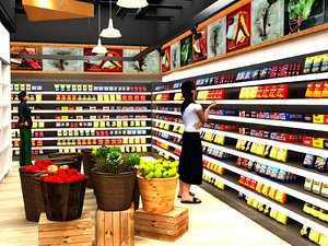 grocery shop aisles cashier 3D model