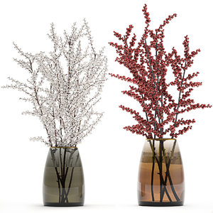 3D model decorative branches vase red
