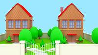 cartoon home yard modeling