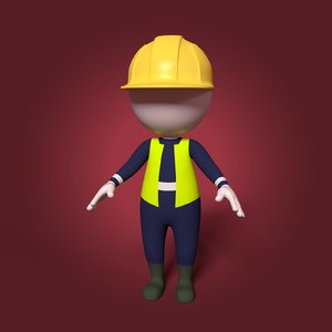 3D model cartoon construction worker working