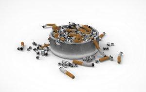overfilling ashtray 3D model