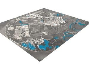 3D landscape industrial facility model