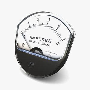 vintage dc ammeter 15 3D model