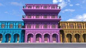 3D houses city road model