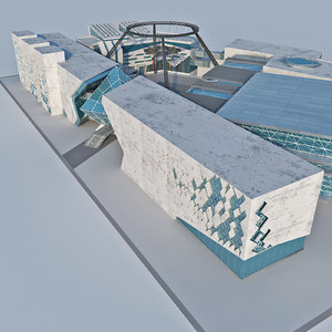 modern design hub architecture 3D model
