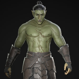 orc warrior armor character 3D model