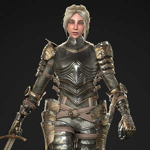 female knight armor character 3D model