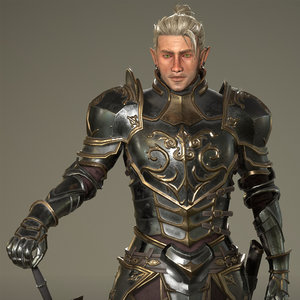 3D elf knight armor character