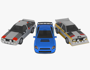 3 rally cars pack 3D model