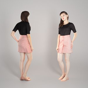 3D young woman casual style